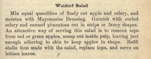 Waldorf Salad circa 1922